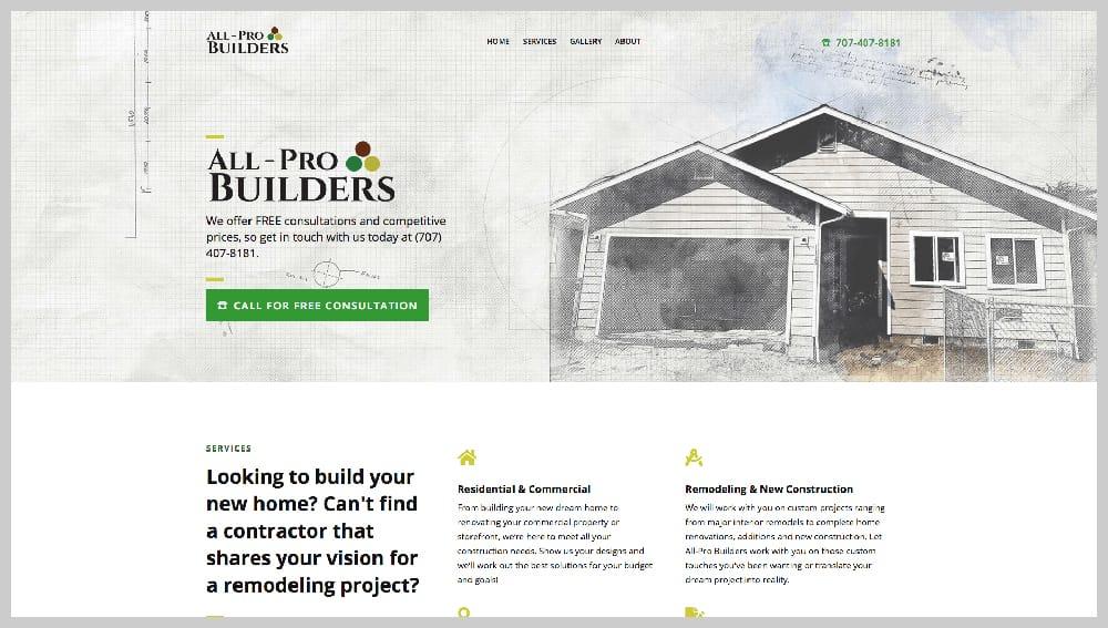screenshot of construction website