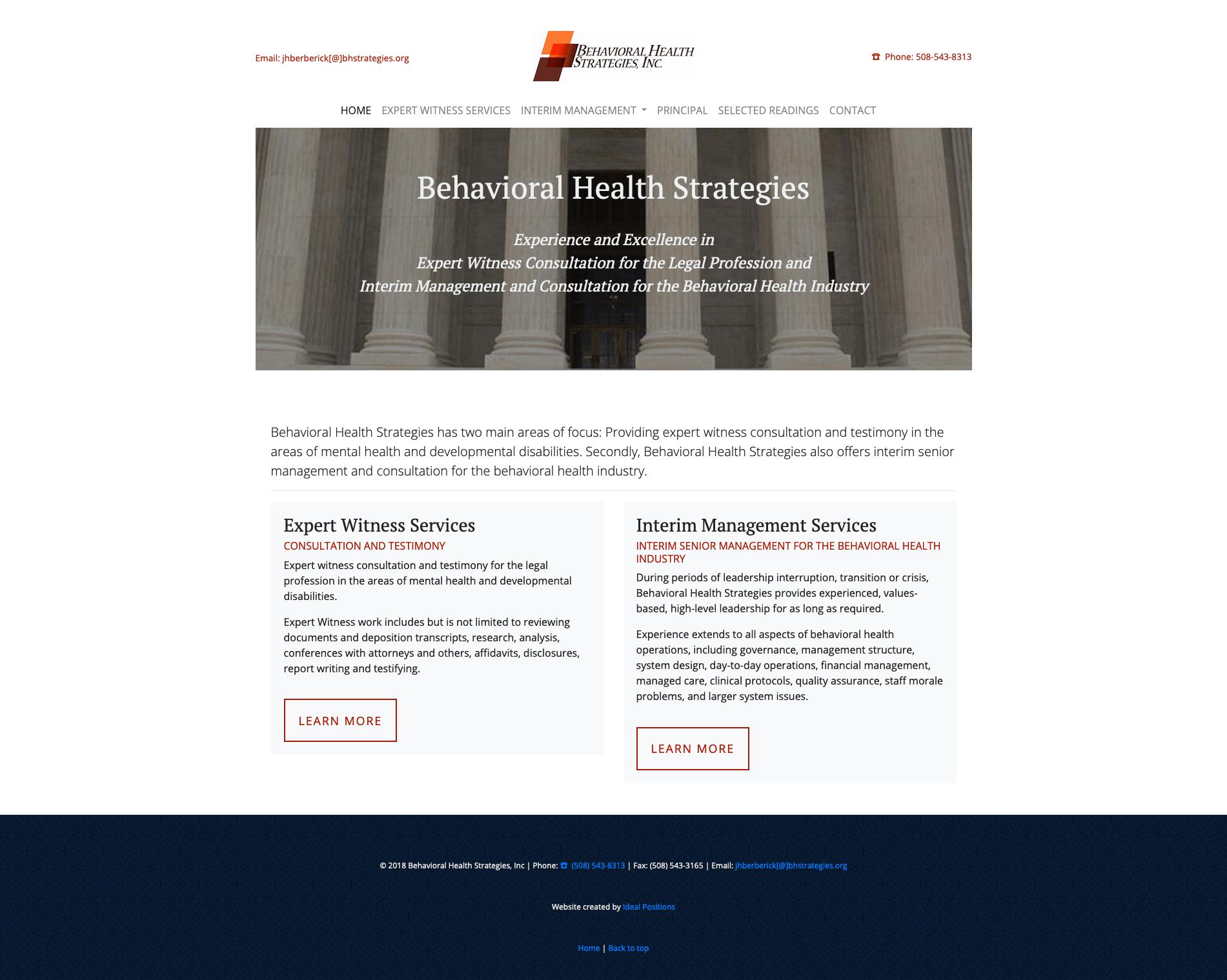 screenshot of expert witness website