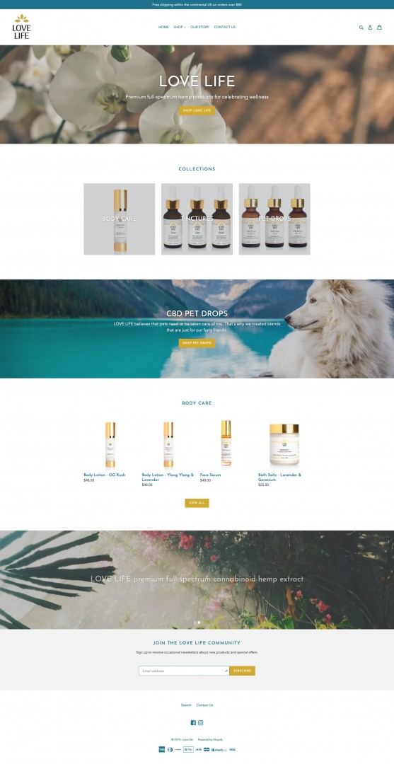 Screenshot for ecommerce shopify website