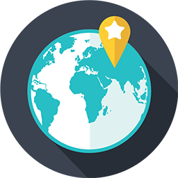 illustration of a globe with a map marker pinpointing a location